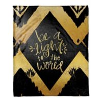 """""""Be a Light to the World"""" Throw Blanket in Gold/Black"""