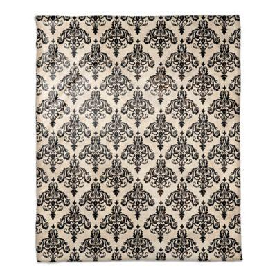 damask throw blanket in blackivory