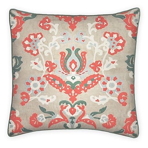 Malaka Chainstitch Square Throw Pillow in Coral - Bed Bath & Beyond