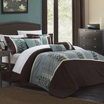Chic Home Evasco 8 Piece Queen Comforter Set In Brown