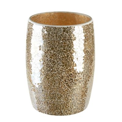 bathroom wastebasket. Gold Crackle Mosaic Glass Wastebasket Buy Bath from Bed  Beyond