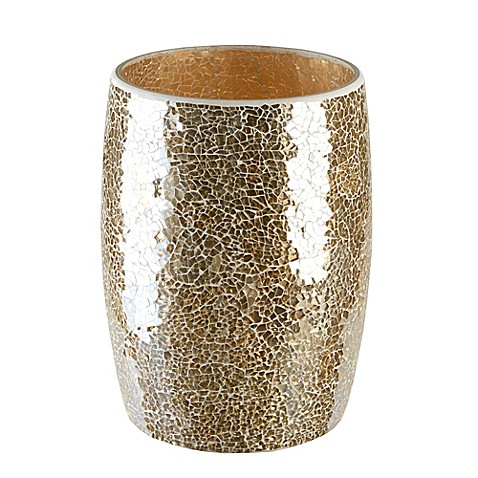 Gold crackle mosaic glass wastebasket bed bath beyond for Black crackle bathroom accessories