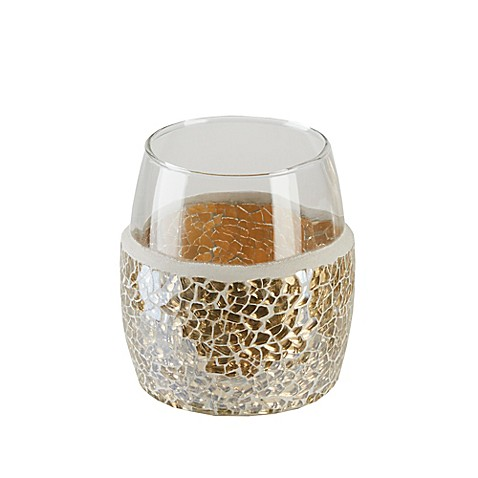 Gold crackle mosaic glass tumbler bed bath beyond for Gold mosaic bathroom accessories