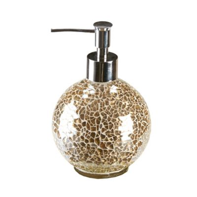 Gold Crackle Mosaic Glass Lotion Dispenser