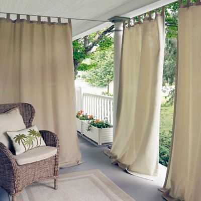 elrene matine 108 inch indooroutdoor tab top window curtain panel in taupe - Outdoor Patio Curtains