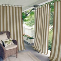 Elrene Highland Stripe 95-Inch Indoor/Outdoor Tab Top Window Curtain Panel in Natural