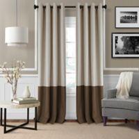 Elrene Braiden 84-Inch Grommet Color Block Room-Darkening Window Curtain Panel in Chocolate