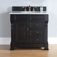 James Martin Furniture 36-Inch Single Vanity with Drawers with White Stone Top in Antique Black