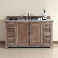 James Martin Furniture Providence 60-Inch Single Vanity with Carrara White Stone Top in Dritftwood