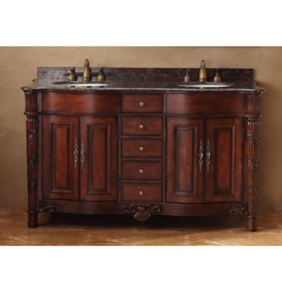 james martin furniture tuscany 60 inch double vanity with baltic brown granite top in cherry