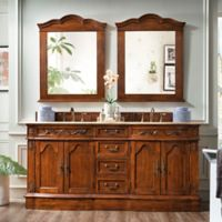 James Martin Furniture Amalfi 72-Inch Double Vanity with Gold Travertine Stone Top in Cherry
