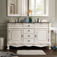 James Martin Furniture Costa Blanca 60-Inch Double Vanity with Baltic Brown Stone Top in White