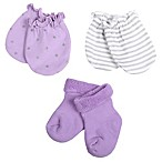Sterling Baby Preemie 3-Piece Bootie and Mitt Set in Purple