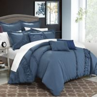 Chic Home Lucerne 12-Piece Queen Comforter Set in Blue