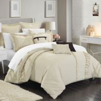 Chic Home Lucerne 8-Piece Queen Comforter Set in Beige