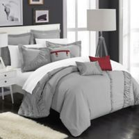 Chic Home Lucerne 8-Piece Queen Comforter Set in Silver