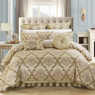 chic home marchesi 9piece queen comforter set in beige
