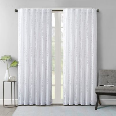 Brandy Leaf 63 Inch Sheer Rod Pocket Back Tab Window Curtain Panel In Ivory