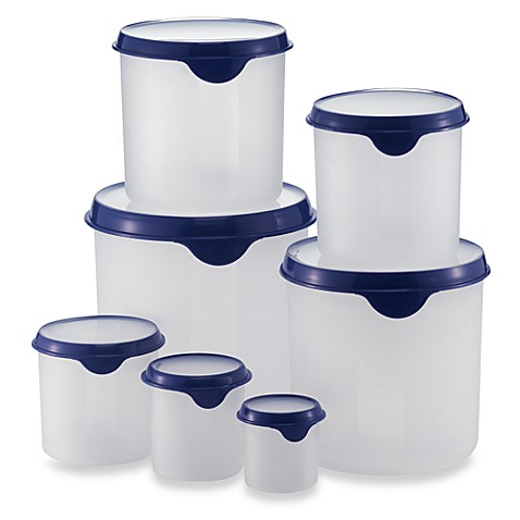 Round plastic storage containers with lids set of 7 for Bathroom containers with lids