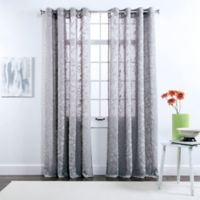 Belle Maison Darcy 84-Inch Grommet Top Chenille Embroidered Window Curtain Panels in Pewter