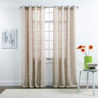 Belle Maison Darcy 84-Inch Grommet Top Chenille Embroidered Window Curtain Panels in Taupe