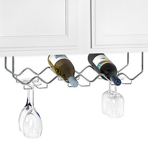 image of Under Counter 6-Bottle Wine Rack with Stemware Holder