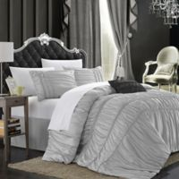 Chic Home Roning 9-Piece Queen Comforter Set in Silver