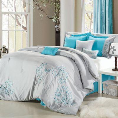Chic Home Sakura 8 Piece King Comforter Set In Grey