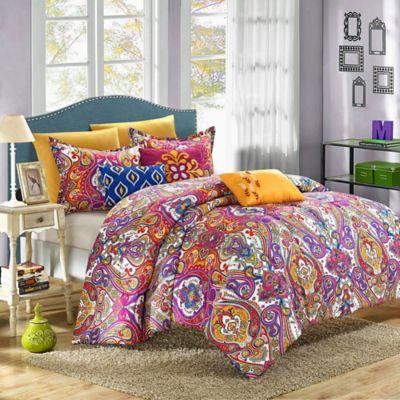 chic home savannah 8piece reversible queen comforter set in fuchsia - Comforters Queen