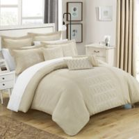 Chic Home 8-Piece Torriano Queen Comforter Set in Beige