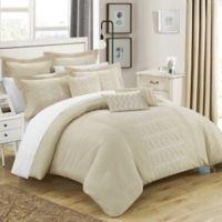 Chic Home 8-Piece Torriano Queen Comforter Set in Beige