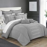 Chic Home 8-Piece Torriano King Comforter Set in Grey
