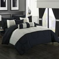 Chic Home Wanstead 20-Piece Queen Comforter Set in Black
