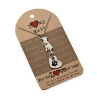 For the Love of Dogs Mutt Necklace and Pet Charm Set in Silver/Gold