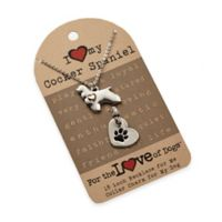 For the Love of Dogs Cocker Spaniel Necklace and Pet Charm Set in Silver/Gold