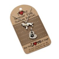 For the Love of Dogs Cavalier King Charles Spaniel Necklace and Pet Charm Set in Silver/Gold