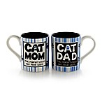 "Our Name is Mud® ""Cat Mom"" and ""Cat Dad"" Mug Set in Blue/White/Black"