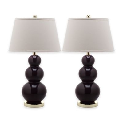 Safavieh Pamela 1 Light Triple Round Gourd Table Lamps In Dark Purple With  Cotton Shade