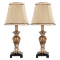 Safavieh Gabriella Mini Urn 1-Light Resin Table Lamps with Gold/Beige Shades (Set of 2)