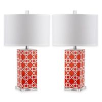 Safavieh Quatrefoil 1-Light Acrylic Table Lamps in Orange with White Shades (Set of 2)
