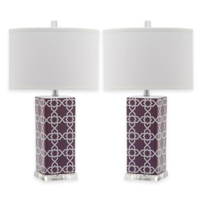 Buy purple lamp shade from bed bath beyond safavieh quatrefoil 1 light acrylic table lamps in light purple with white shades set mozeypictures Images