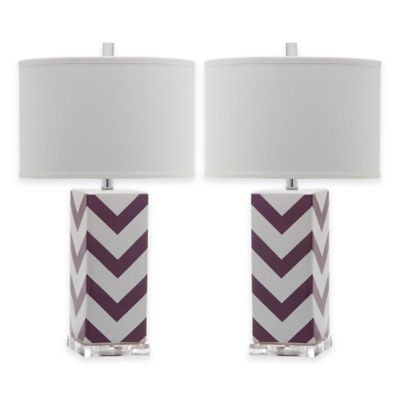 Buy purple lamp shade from bed bath beyond safavieh chevron table lamps in purple with cotton hardback drum shade set of 2 aloadofball Images