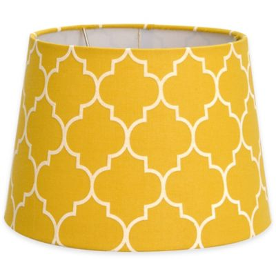 Flocked linen small 7 inch lamp shade in yellow white