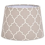 Flocked Linen Small 7-Inch Lamp Shade in Grey/White
