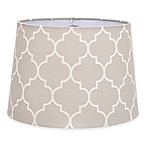 Flocked Linen Medium 9-Inch Lamp Shade in Grey/White