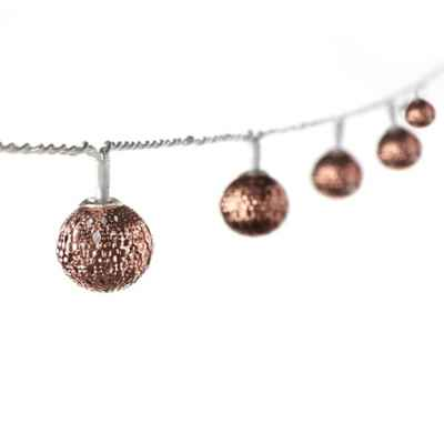 Pierced Ball 16-Light LED String Lights in Bronze