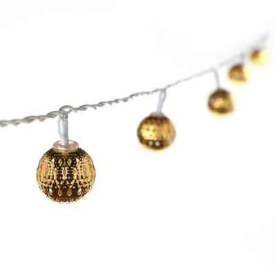 16-Piece Lighted Pierced Moroccan Gold Ball String Light Set