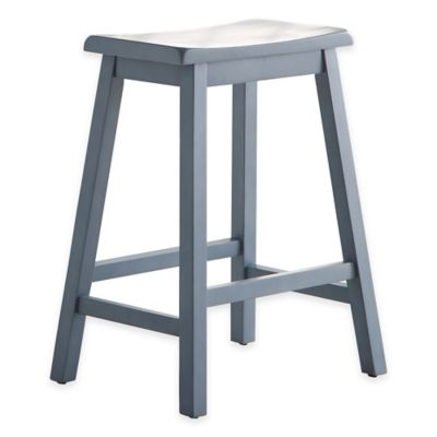 wood saddle 24inch counter stool in blue - Saddle Stools