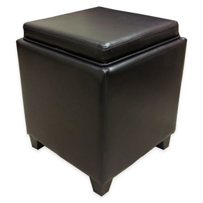 Dubai Contemporary Storage Ottoman with Tray in Brown - Buy Brown Leather Storage Ottoman From Bed Bath & Beyond