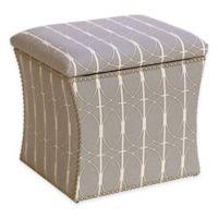 Skyline Furniture Nail Button Storage Ottoman in Menton Linen